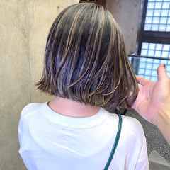 ボブ ハイライト ナチュラル コントラストハイライト ヘアスタイルや髪型の写真・画像