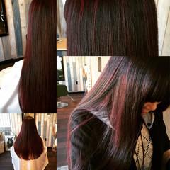 モード ダブルカラー ハイライト ロング ヘアスタイルや髪型の写真・画像