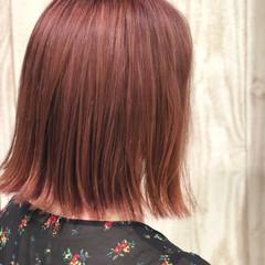 ガーリー ボブ ピンク ラベンダーピンク ヘアスタイルや髪型の写真・画像