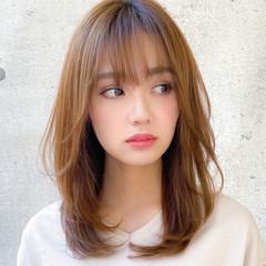 小顔 デジタルパーマ ミディアム 鎖骨ミディアム ヘアスタイルや髪型の写真・画像