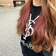 ピンク ブリーチカラー ガーリー ロング ヘアスタイルや髪型の写真・画像