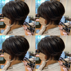 小顔ショート ショートボブ ショートヘア ナチュラル ヘアスタイルや髪型の写真・画像
