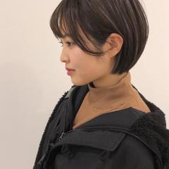 ミニボブ ショートボブ 透明感カラー 簡単ヘアアレンジ ヘアスタイルや髪型の写真・画像