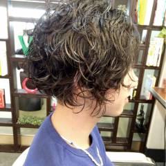 ボーイッシュ ショート パーマ モテ髪 ヘアスタイルや髪型の写真・画像