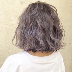 ボブ ラベンダーアッシュ ラベンダー 外国人風カラー ヘアスタイルや髪型の写真・画像