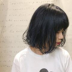 くせ毛風 ネイビー ストリート ブリーチ ヘアスタイルや髪型の写真・画像