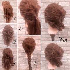 フェミニン デート ヘアアレンジ ミディアム ヘアスタイルや髪型の写真・画像