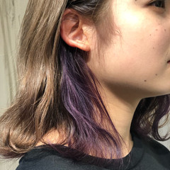 インナーカラー ブリーチカラー ストリート バイオレット ヘアスタイルや髪型の写真・画像