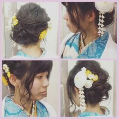 ヘアアレンジ 成人式 セミロング ヘアスタイルや髪型の写真・画像