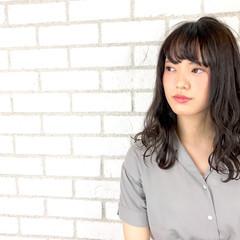 ロング 色気 ナチュラル 斜め前髪 ヘアスタイルや髪型の写真・画像