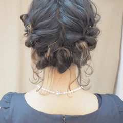 編み込み 簡単ヘアアレンジ くるりんぱ ヘアアレンジ ヘアスタイルや髪型の写真・画像