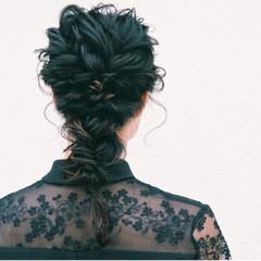 インナーカラー ミディアム 編み込み モード ヘアスタイルや髪型の写真・画像