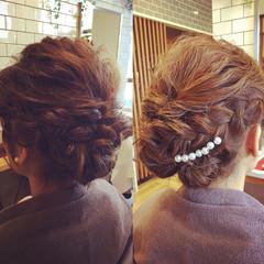 ミディアム フェミニン ヘアアレンジ 結婚式 ヘアスタイルや髪型の写真・画像