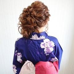 アップスタイル ロング ヘアアレンジ 花火大会 ヘアスタイルや髪型の写真・画像
