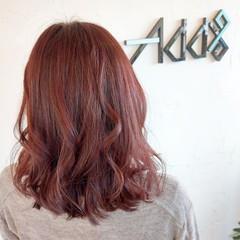エレガント 韓国ヘア ラズベリーピンク ミディアム ヘアスタイルや髪型の写真・画像