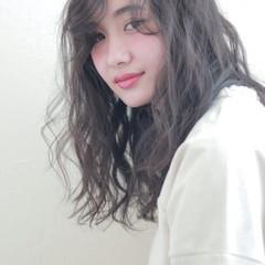 アッシュ ハイライト 外国人風 セミロング ヘアスタイルや髪型の写真・画像