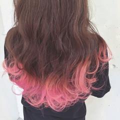 グラデーションカラー 夏 セミロング ダブルカラー ヘアスタイルや髪型の写真・画像