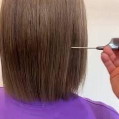 トレンド 韓国ヘア 切りっぱなしボブ 透明感カラー ヘアスタイルや髪型の写真・画像