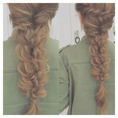 大人かわいい 三つ編み ロング ヘアアレンジ ヘアスタイルや髪型の写真・画像