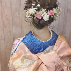 成人式 セミロング ヘアアレンジ ナチュラル ヘアスタイルや髪型の写真・画像