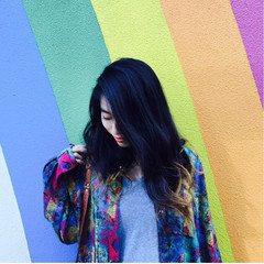 ロング 黒髪 ストリート ハイライト ヘアスタイルや髪型の写真・画像