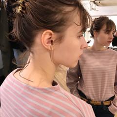 ヘアアレンジ お団子アレンジ 前髪 ミディアム ヘアスタイルや髪型の写真・画像