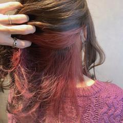 カシスレッド エレガント ローズ ロング ヘアスタイルや髪型の写真・画像