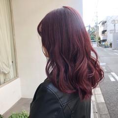 ミディアム ピンク アッシュバイオレット パープル ヘアスタイルや髪型の写真・画像