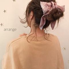 ヘアアレンジ セミロング ナチュラル デート ヘアスタイルや髪型の写真・画像