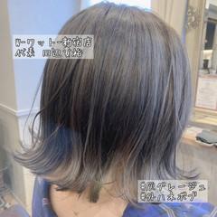 ネイビーカラー デート ネイビーアッシュ ショート ヘアスタイルや髪型の写真・画像