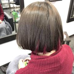 ストリート ボブ ピンク インナーカラー ヘアスタイルや髪型の写真・画像