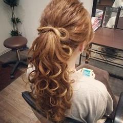 フェミニン ポニーテール ガーリー ヘアアレンジ ヘアスタイルや髪型の写真・画像