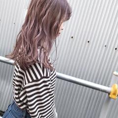 ピンクブラウン セミロング ガーリー ピンク ヘアスタイルや髪型の写真・画像