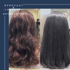 ミディアム 髪質改善 ストレート ナチュラル ヘアスタイルや髪型の写真・画像