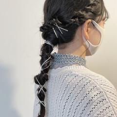 編みおろしヘア アンニュイほつれヘア ナチュラル 簡単ヘアアレンジ ヘアスタイルや髪型の写真・画像