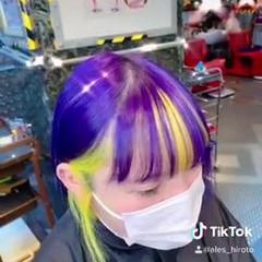 インナーカラー デザインカラー ボブ 派手髪 ヘアスタイルや髪型の写真・画像