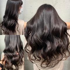 アッシュブラウン コテ巻き セミロング アッシュベージュ ヘアスタイルや髪型の写真・画像