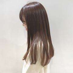 ブリーチなし ロング ラベンダーアッシュ ガーリー ヘアスタイルや髪型の写真・画像