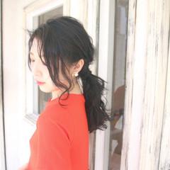 上品 ローポニーテール ヘアアレンジ 簡単 ヘアスタイルや髪型の写真・画像