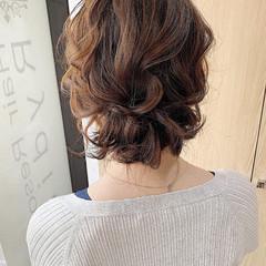 セミロング ナチュラル 結婚式ヘアアレンジ ヘアセット ヘアスタイルや髪型の写真・画像