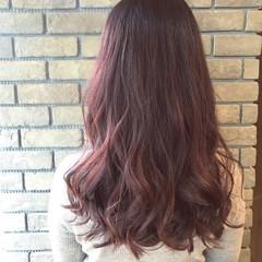 ピンク 謝恩会 デート セミロング ヘアスタイルや髪型の写真・画像