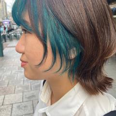 ナチュラル ブルー ミディアム ブリーチカラー ヘアスタイルや髪型の写真・画像