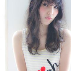 黒髪 ロング フェミニン ゆるふわ ヘアスタイルや髪型の写真・画像