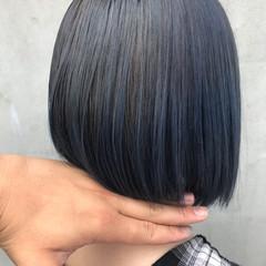 ストリート ブルーグラデーション ブルーアッシュ ボブ ヘアスタイルや髪型の写真・画像