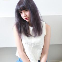 パープル ストリート セミロング かっこいい ヘアスタイルや髪型の写真・画像
