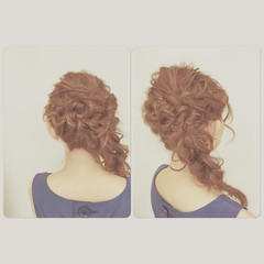 ブラウン ヘアアレンジ フェミニン ロング ヘアスタイルや髪型の写真・画像