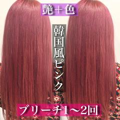 ロング ピンクバイオレット ピンクパープル ストリート ヘアスタイルや髪型の写真・画像