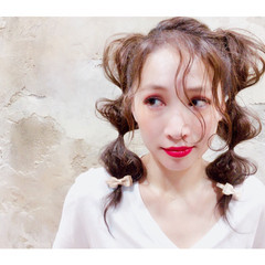 波ウェーブ ヘアアレンジ 簡単ヘアアレンジ ツインテール ヘアスタイルや髪型の写真・画像