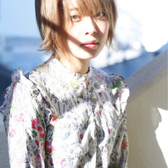 丸顔 フェミニン デート ショート ヘアスタイルや髪型の写真・画像