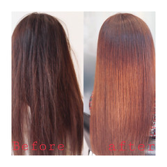 ロング 縮毛矯正 デート ナチュラル ヘアスタイルや髪型の写真・画像